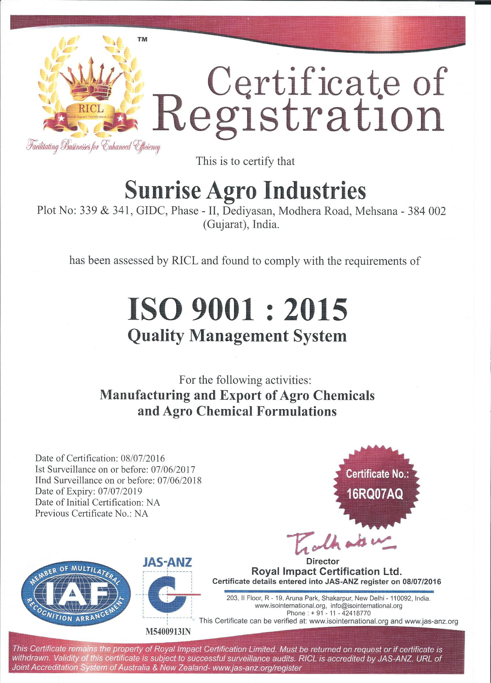 Quality certification sunrise agro industries iso 9001 2015 xflitez Image collections